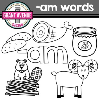 """Word Family Clipart - """"am"""" Word Family Clipart - CVC Middle a Clipart"""