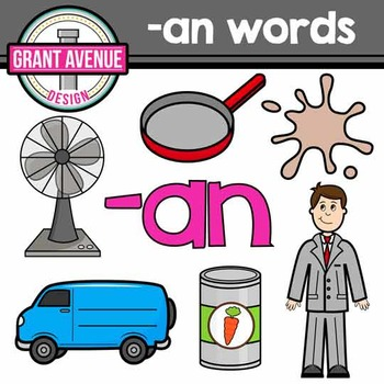 "Word Family Clipart - ""an"" Word Family Clipart - CVC Middl"