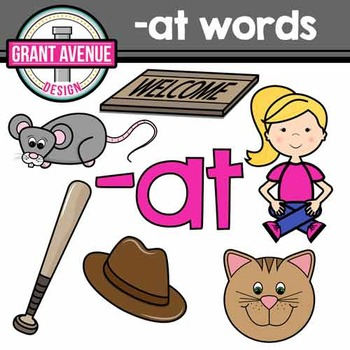 """Word Family Clipart - """"at"""" Word Family Clipart - CVC Middle a Clipart"""