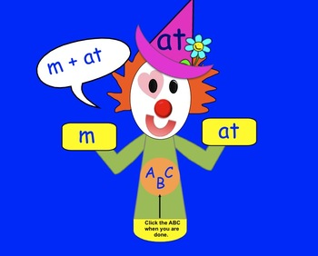 Word Family Clown Freebie: Interactive SMARTboard activity for K-1