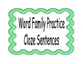 Word Family Cloze Sentences