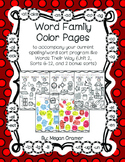 Word Family Color Pages (Words Their Way) U2 Sorts 6-12 Letter Name-Alphabetic