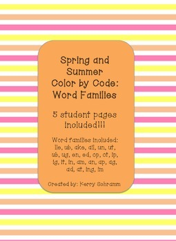 Word Family Color by Code: Spring and Summer