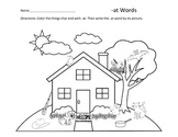 Word Family Coloring Pages: -at, -ar, -an words