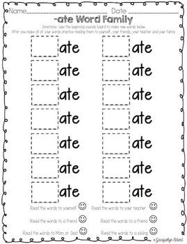 BUNDLE: CVCe Word Family Cut, Paste & Read Practice CVCe Families