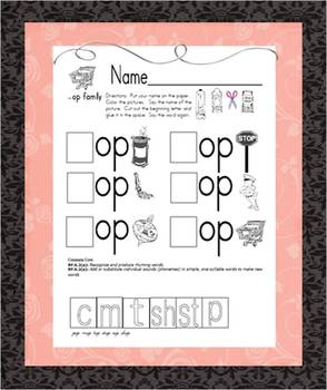 Word Family Cut & Paste -op -og - ot -ock -ook