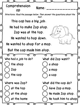 Word Family Decodable Passages with Comprehension Questions