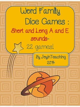 Word Family Dice Games : Short and Long A and E sounds-44 games!