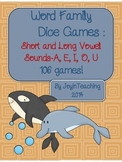 Word Family Dice Games :Short and Long Vowel sounds-106 games!