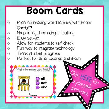 "Word Family ""E"" Boom Cards"