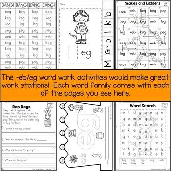 Word Family EG and EB  Short Vowel E