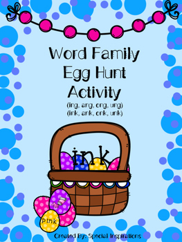 Word Family Egg Hunt Activity and Literacy Center