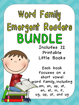 Word Family Emergent Reader BUNDLE Kindergarten with Pocket Chart Cards & More