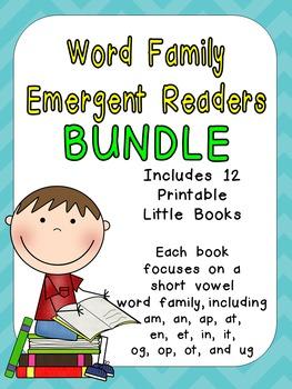 Word Family Emergent Reader BUNDLE Kindergarten with Pocket Chart Cards & More
