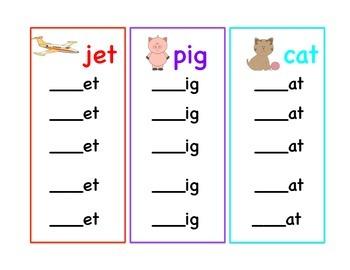 Word Family Endings- 21 Different Word Endings (to practic