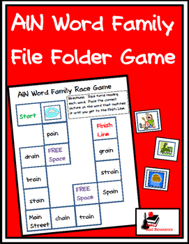 Word Family File Folder Game - AIN Family