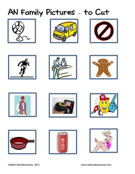 Word Family File Folder Game - AN Family