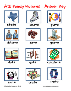 Word Family File Folder Game - ATE Family