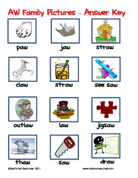 Word Family File Folder Game - AW Family