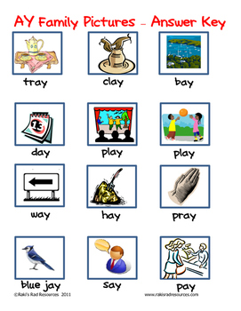 Word Family File Folder Game - AY Family