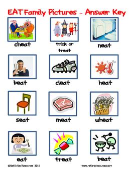 Word Family File Folder Game - EAT Family