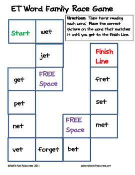 Word Family File Folder Game - ET Family