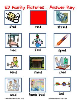 Word Family File Folder Game - ED Family