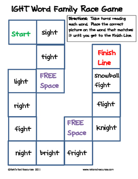 Word Family File Folder Game - IGHT Family