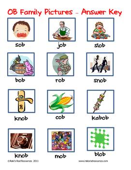 Word Family File Folder Game - OB Family
