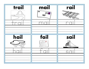 Word Family Flash Card Set with Handwriting & Coloring