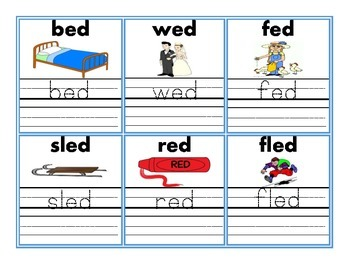Word Family Flash Card Set with Pictures & Handwriting Practice
