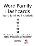 Word Family Flashcards Set 1 at et it ot ut