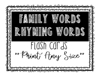 Word Family Flashcards*Full Page Posters*Print Any Size*
