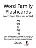 Word Family Flashcards Set 3 ag eg ig og ug