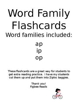 Word Family Flashcards Set 4 ap ip op