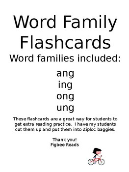 Word Family Flashcards ang ing ong ung