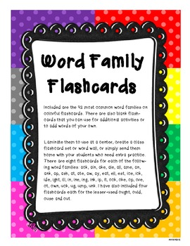 Word Family Flashcards or Word Wall