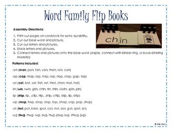 Word Family Flip Books- 2 Letter Rimes