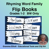 Rhyming Word Family Flip Books  Gds 1-2 in BW Only