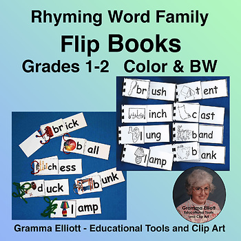 Rhyming Word Family Flip Books Grades 1-2  Phonics in COLOR AND BW