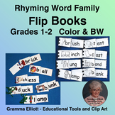 Rhyming Activities Flip Books for 1st and 2nd Grades Color and BW