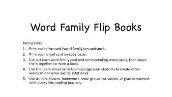 Word Family Flip Books Short Vowels