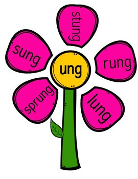 Word Family Flowers (ng, nk, all)
