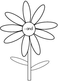 Word Family Flowers - onset and rime activity black & white