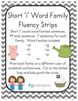 Word Family Fluency Strips-Short 'i' Words