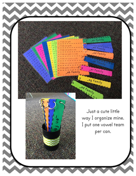 Word Family Fluency Strips-Short 'u' Words