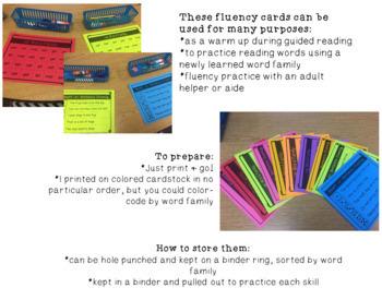Word Family Fluency cards