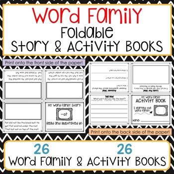 Word Family Foldable Stories and Activity Books