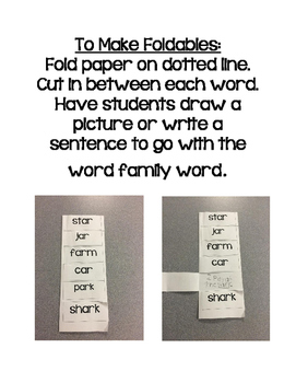 Word Family Foldables for the Letter A