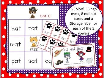 Short Vowel Word Family BINGO Games